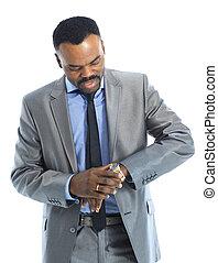 sorrindo, afro-american, homem negócios