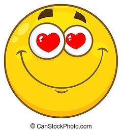 sorrindo, amarela, caricatura, smiley enfrentam, personagem, com, corações, olhos
