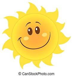 sorrindo, amarela, simples, sol