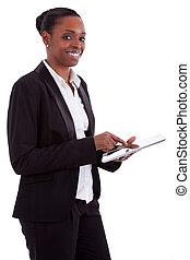 sorrindo, americano africano, executiva, usando, um, tabuleta