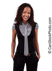 sorrindo, americano africano, mulher negócio
