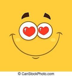 sorrindo, amor, caricatura, quadrado, emoticons, com, corações, olhos, e, expressão