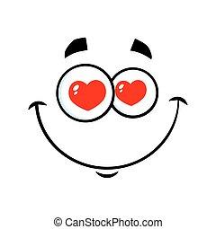 sorrindo, amor, caricatura, rosto engraçado, com, corações, olhos, expressão