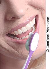 sorrindo, aproximadamente, mulher, escove dentes