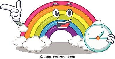 sorrindo, arco íris, desenho, mascote, relógio, conceito