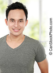 sorrindo, asiático, homem jovem