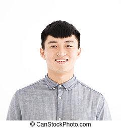 sorrindo, asiático, jovem, casual, homem, retrato