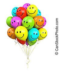 sorrindo, balões, coloridos, grupo