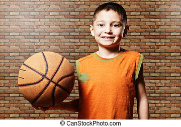 sorrindo, basquetebol, criança