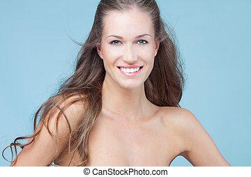 sorrindo, beleza, mulher