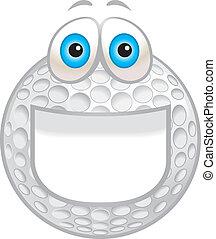 sorrindo, bola, golfe