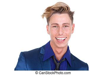 sorrindo, bonito, homem jovem