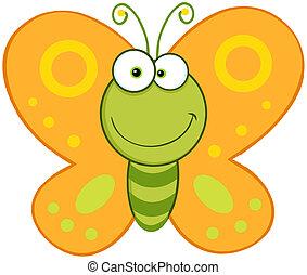 sorrindo, borboleta, mascote, personagem