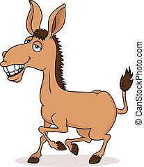 sorrindo, burro, caricatura