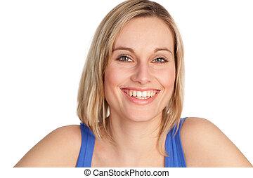 sorrindo, câmera, mulher, atraente