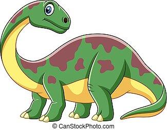 sorrindo, caricatura, brontosaurus