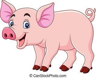 sorrindo, caricatura, porca
