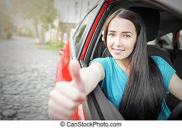 sorrindo, carro., menina, vermelho, feliz