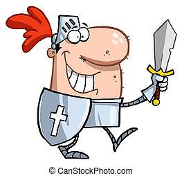 sorrindo, cavaleiro, com, espada