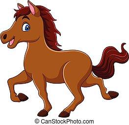 sorrindo, cavalo, caricatura