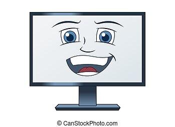 sorrindo, computador