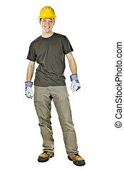 sorrindo, construção, trabalhador, jovem