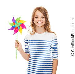 sorrindo, criança, com, coloridos, moinho de vento,...