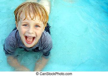 sorrindo, criança, piscina bebê