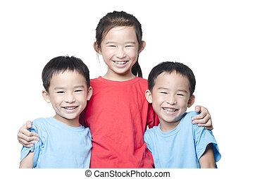 sorrindo, crianças