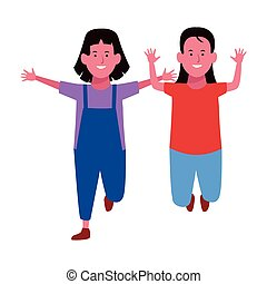 sorrindo, crianças, dois, desenhos animados