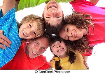 sorrindo, crianças, feliz