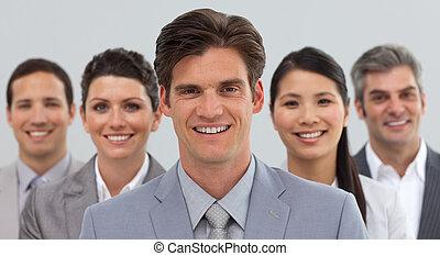 sorrindo, diversidade, mostrando, pessoas negócio