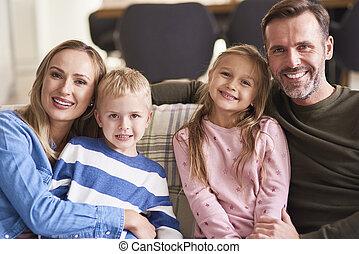 sorrindo, dois, retrato familiar, crianças