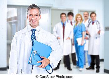 sorrindo, doutor familiar, com, stethoscope.