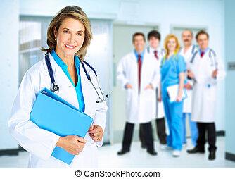 sorrindo, doutor, médico, mulher
