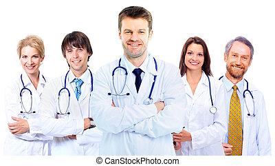 sorrindo, doutores, médico, stethoscopes