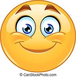 sorrindo, emoticon