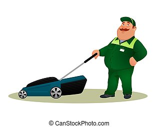 sorrindo, engraçado, serviço, personagem, isolado, experiência., agricultor, branca, cuidado, jardineiro, feliz, apartamento, coloridos, paleto, trabalhador, gorda, corte, ilustração, mower., caricatura, homem, gramado, vetorial, grama verde