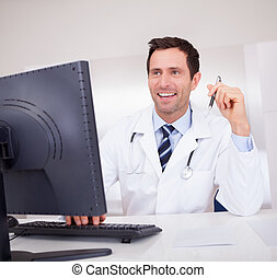 sorrindo, Estetoscópio, médico, doutor