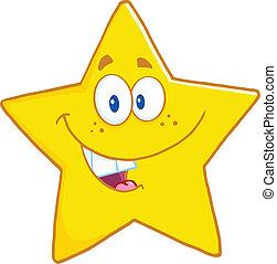 sorrindo, estrela, personagem