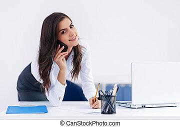 sorrindo, executiva, com, paperwork