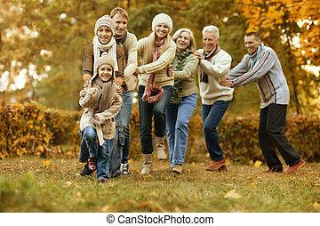 sorrindo, família, relaxante