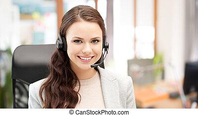 sorrindo, femininas, helpline, operador, com, headset