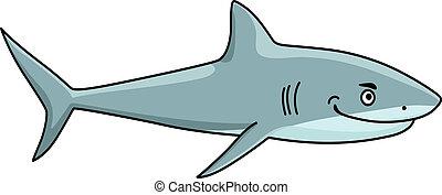 sorrindo, feroz, tubarão