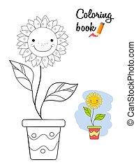 sorrindo, flor, em, um, pot., tinja livro, página