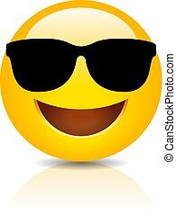 sorrindo, fresco, óculos de sol, emoji