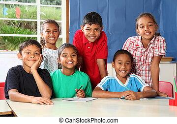 sorrindo, grupo, crianças escola