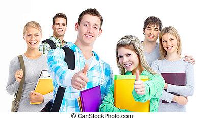 sorrindo, grupo, students.
