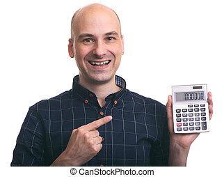 sorrindo, homem calvo, calculando