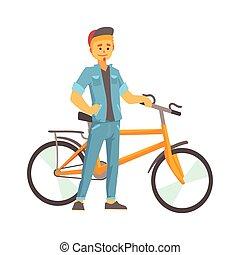 sorrindo, homem jovem, em, roupas casuais, ficar, perto, um, bicicleta, desporto, estilo vida, ciclismo, montando, relaxe, caricatura, vetorial, ilustração